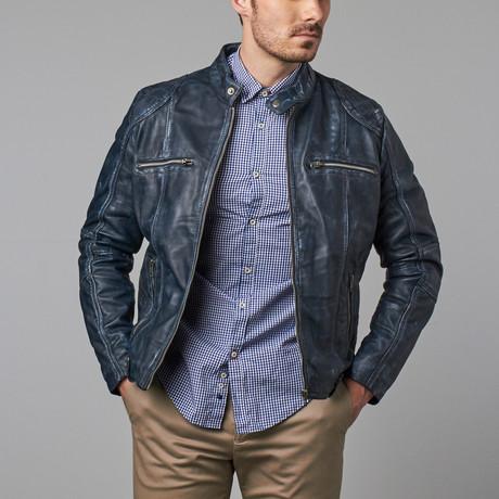 Cruz Quilt Panel Zip Moto Jacket // Blue Wash (S)