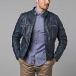 Cruz Quilt Panel Zip Moto Jacket // Blue Wash (4XL)