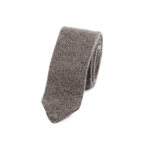 Pique Knit Straight Pointed Tie // Tan