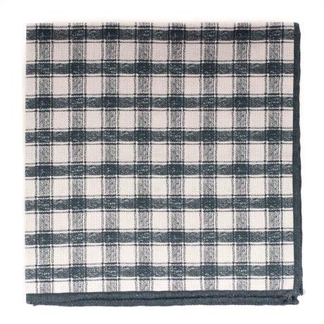 Reversable Dot-Plaid Pocket Square // Green + Tan