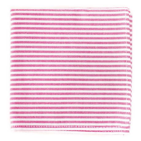 Stripes Pocket Square // Red + White