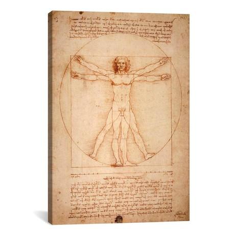 "Vitruvian Man, c. 1490 // Leonardo da Vinci (18""W x 26""H x 0.75""D)"