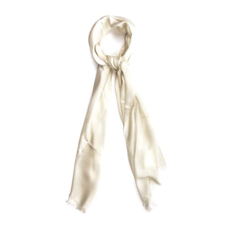 Gucci // GG Wool + Silk Blend Scarf // White