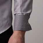Narmer Jacquard Button-Up // White + Black (XL)