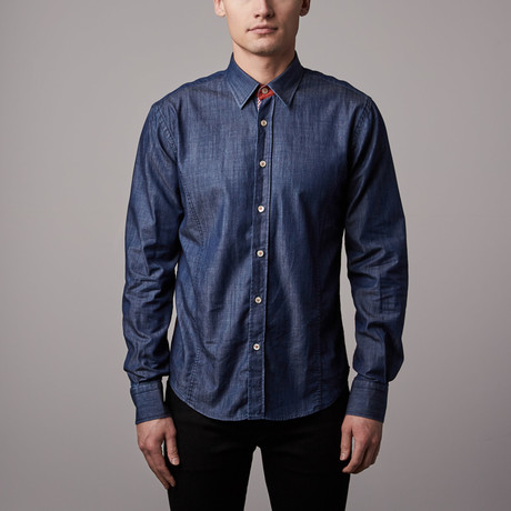 Eight-X // Denim Button-Up // Blue + Red (S)