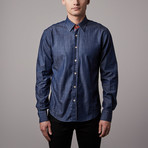 Eight-X // Denim Button-Up // Blue + Red (M)