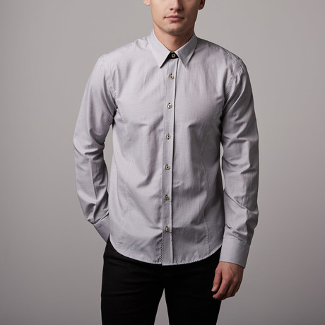 Narmer Jacquard Button-Up // White + Black (S)