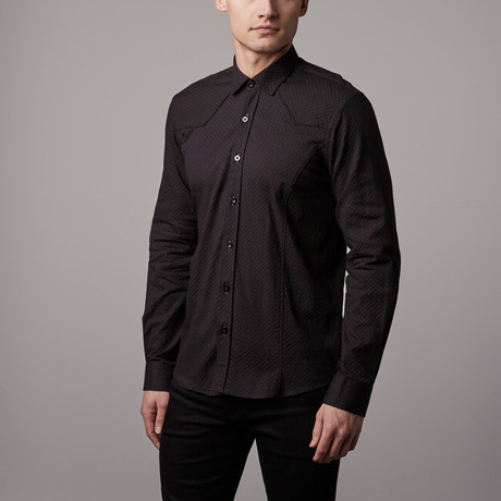 Solid Jacquard Button-Up // Black (S)