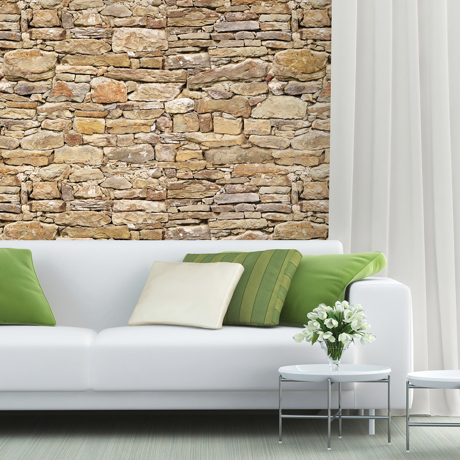 Stone wall mural brewster home fashions touch of modern for Brewster birch wall mural