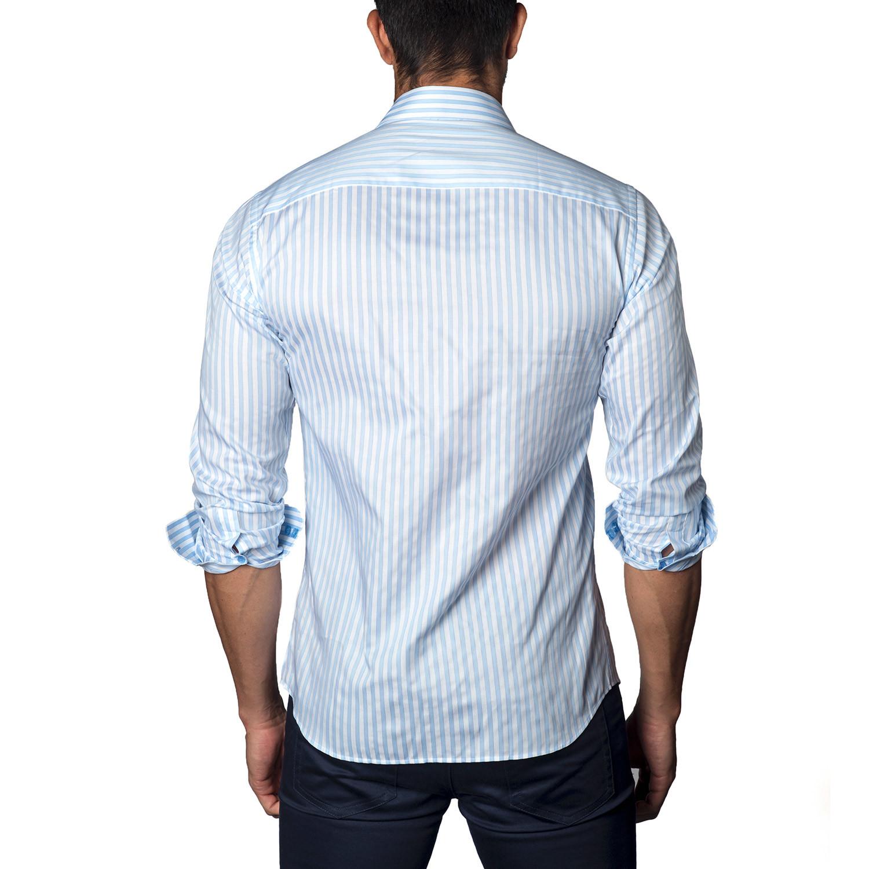Button Up Shirt White Blue Stripe S Jared Lang