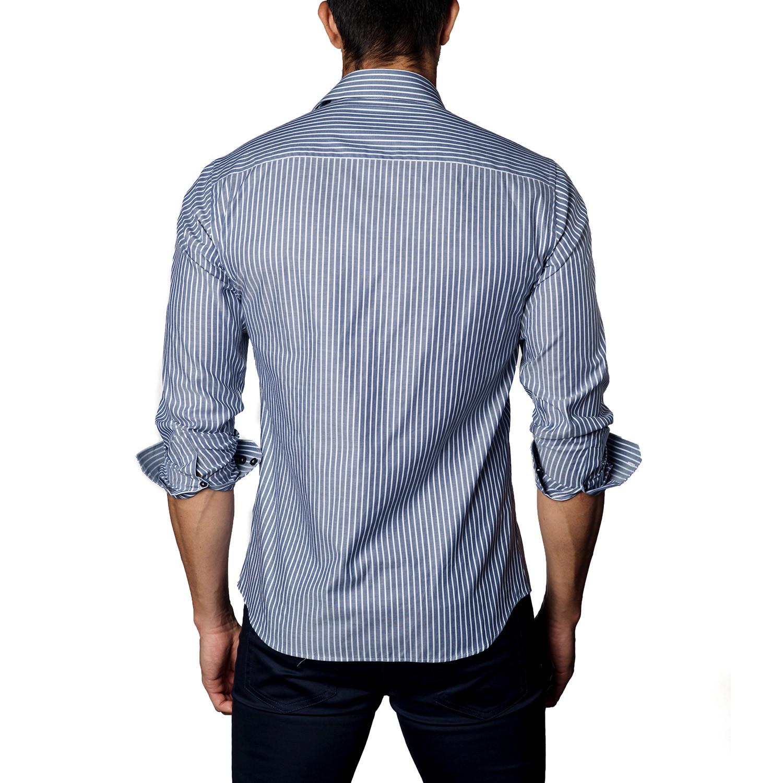 Button Up Shirt Navy Oxford Stripe S Jared Lang