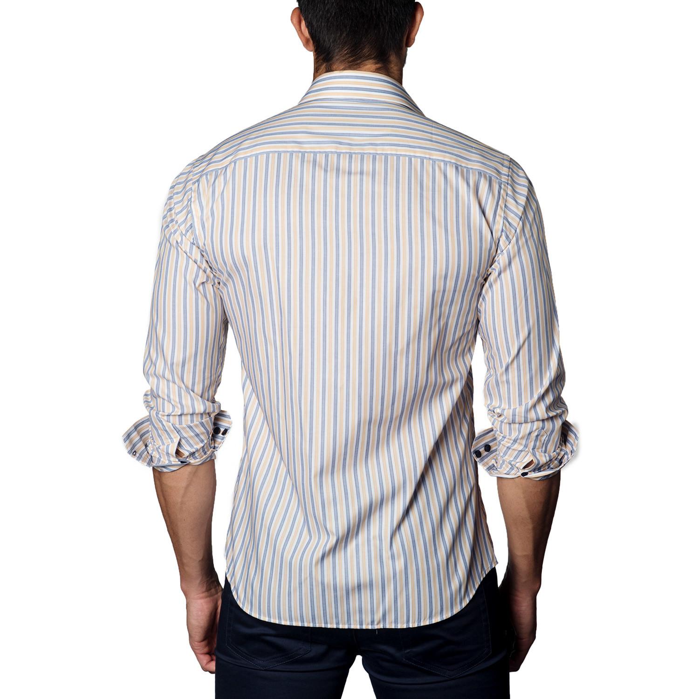 Button Up Shirt Navy Beige Stripe S Jared Lang