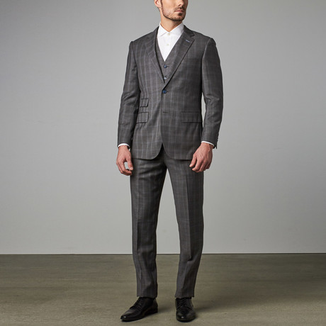 Paolo Lercara // 3-Piece Modern-Fit Suit // Grey Plaid (US: 34R)