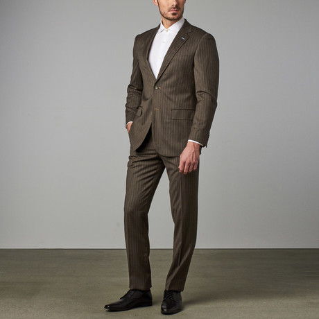 Paolo Lercara // Modern-Fit Suit // Brown Pinstripe (US: 34R)