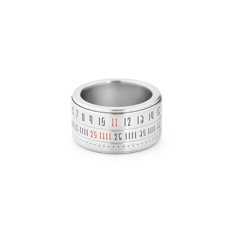 Ring Clock // Metal Ring + Orange LED (Size: 13.5)