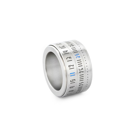 Ring Clock // Metal Ring + Blue LED (Size: 8)