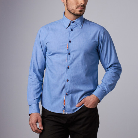 Lincoln Microcheck Shirt // Blue (S)