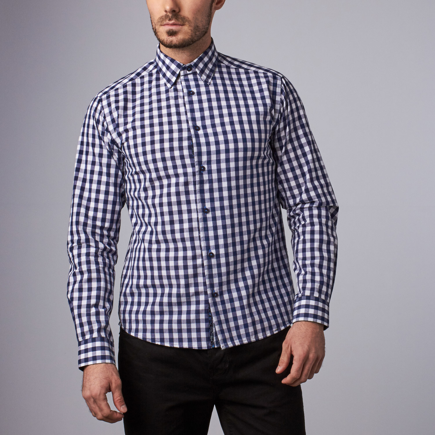 Stratford Gingham Shirt Navy S Lucky Luciano Touch Of Modern