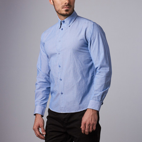 Wall Street Stripe Shirt // Blue (S)