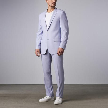 Bella Vita // Slim-Fit Suit // Light Blue Seersucker (US: 38S)