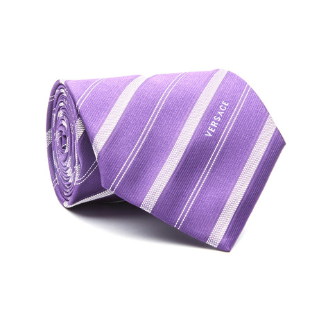 Striped Tie // Purple + White