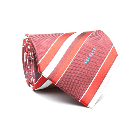 Striped Tie // Burgundy + Red