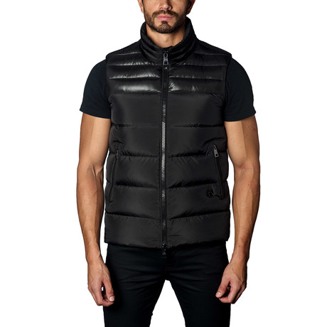Aspen Down Puffer Vest // Black Satin (S)