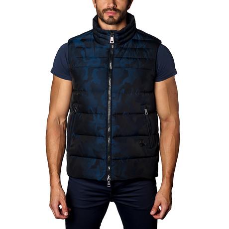 Aspen Down Puffer Vest // Navy Camo (S)