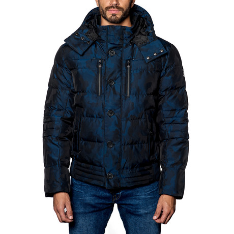 Alaska Hooded Down Puffer Coat // Navy Camo (S)