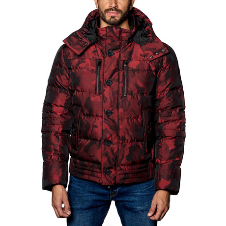 Alaska Hooded Down Puffer Coat // Red Camo (S)