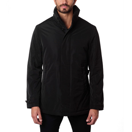 Rome High Collar Car Coat // Black (S)