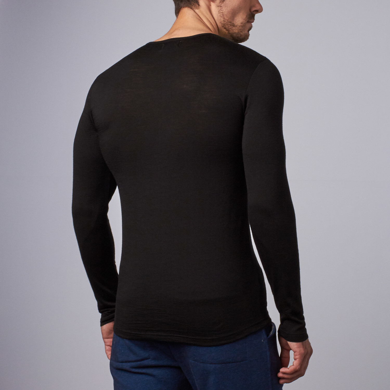 Long sleeve merino wool shirt black s about for Merino wool shirt long sleeve
