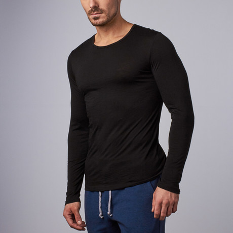 Long-Sleeve Merino Wool Shirt // Black (S)