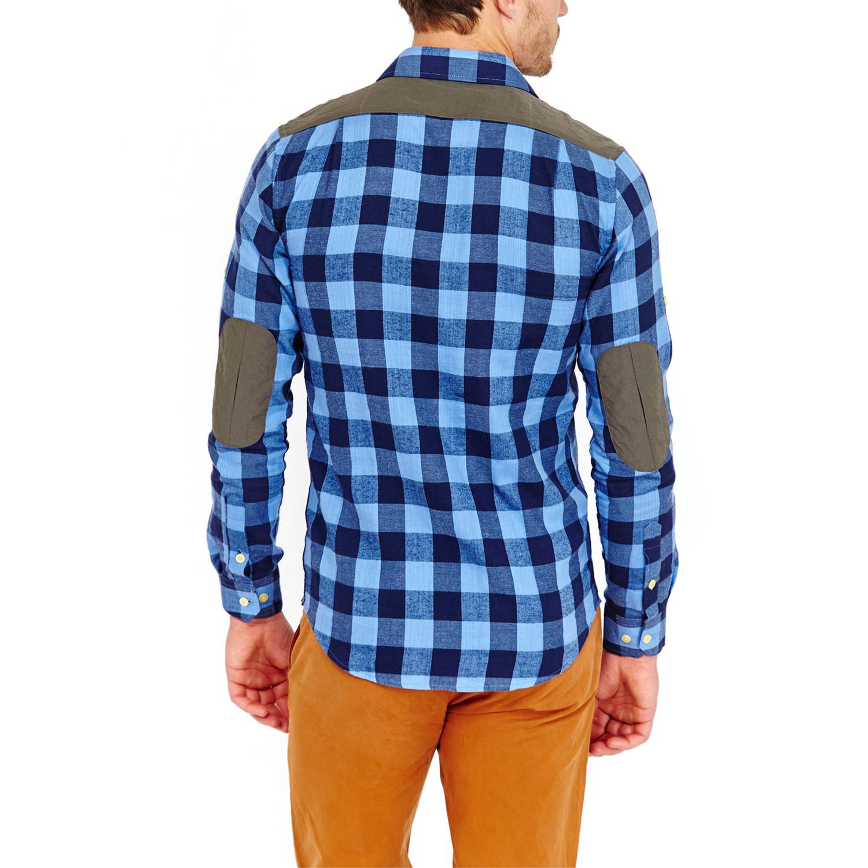 Wilber sports shirt sky blue navy plaid m for Navy blue plaid shirt