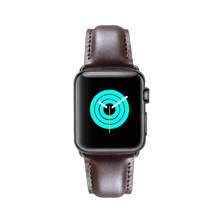 Super Soft Leather Apple Watch Strap // Brown (38mm-40mm // Space Black Stainless Steel Clasp)