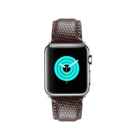 Lizard Embossed Apple Watch Strap // Brown (38mm-40mm // Space Black Stainless Steel Clasp)