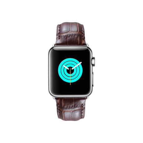 Alligator Embossed Apple Watch Strap // Brown (38mm-40mm // Space Black Stainless Steel Clasp)
