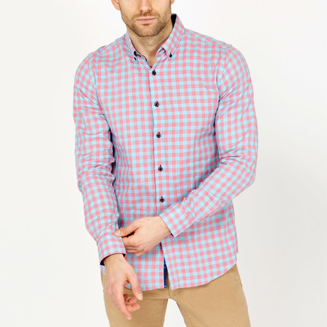 Ethan Gingham Button-Down Shirt // Light Blue + Pink
