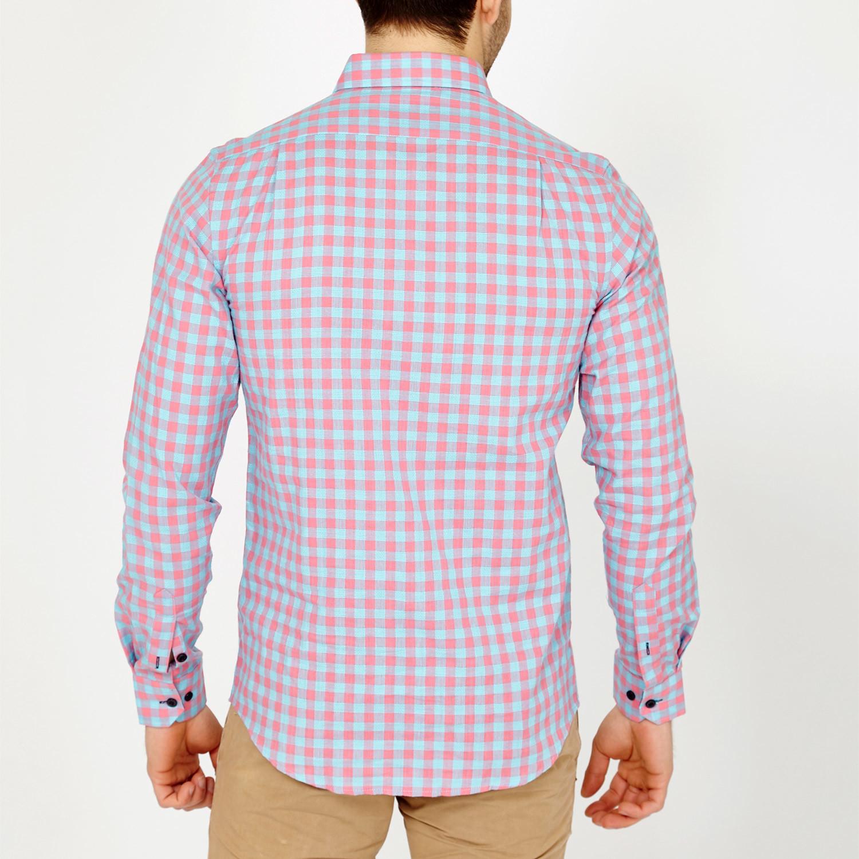 Ethan Gingham Button Down Shirt Light Blue Pink S
