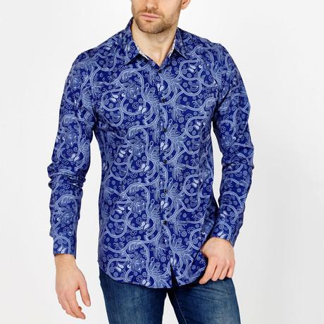 Grant Paisley Button-Up Shirt // Blue