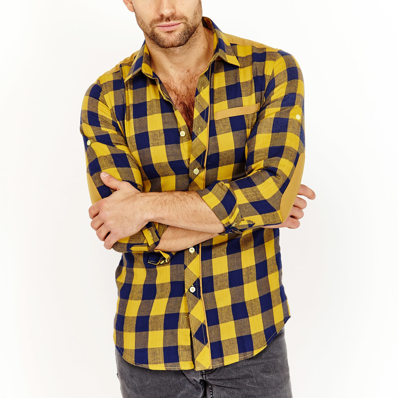 Milton Plaid Button-Up Shirt // Yellow + Navy (XL ...
