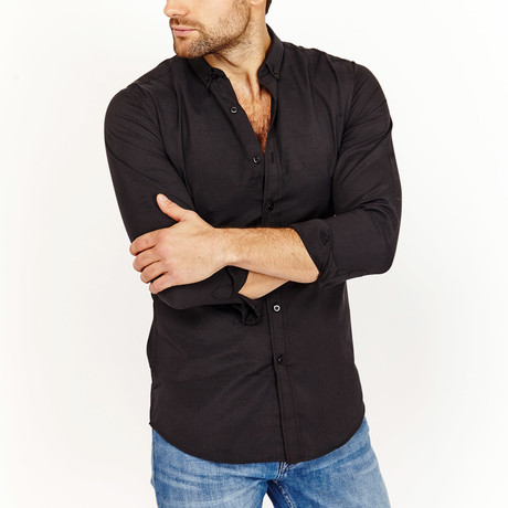 Hugh Button-Down Shirt // Black