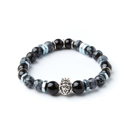 King Artaxias Bracelet // Snowflake Obsidian + Agate With Washers