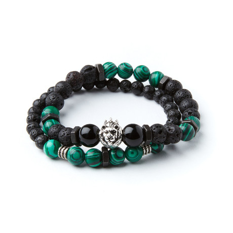 King Artaxias Bracelets // Lava Stone + Malachite With Washers