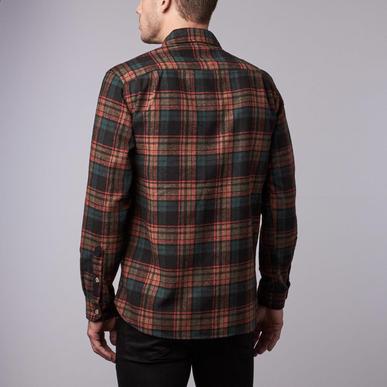 Mckenzie flannel shirt black camel plaid s wilder for Black watch plaid flannel shirt
