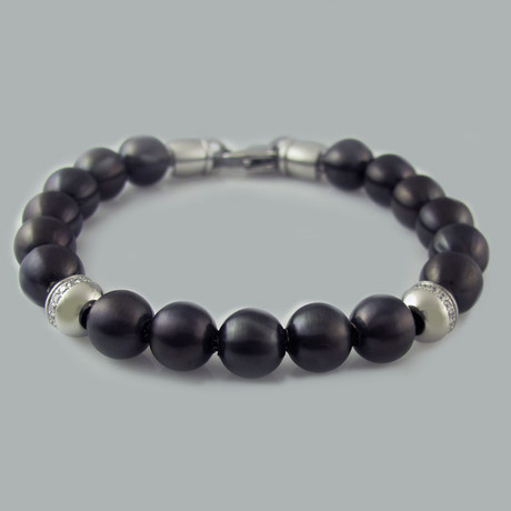 CZ Bead Bracelet // Black Stainless Steel