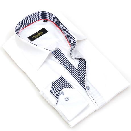 Giambi Button-Up // White + Striped Trim