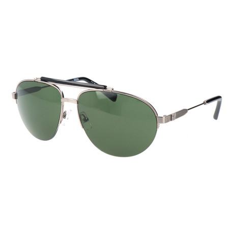 Men's EZ0007 Sunglasses // Shiny Light Ruthenium + Green