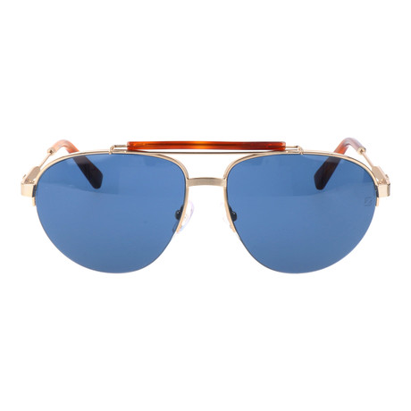 EZ0007 Men's Sunglasses // Tortoise + Blue + Silver