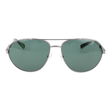 EZ0011 Sunglasses // Green + Silver